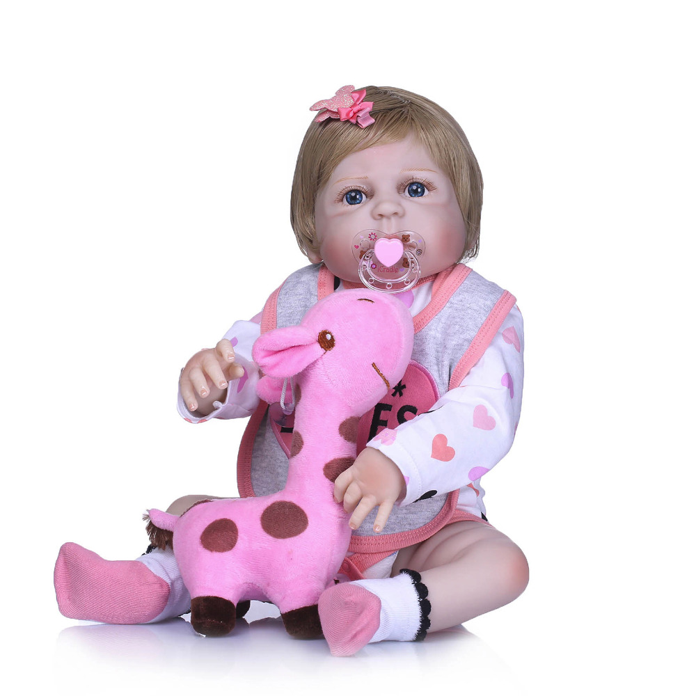 Nicery 22inch 55cm Bebe Reborn Doll Hard Silicone Boy Girl Toy Reborn Baby Doll Gift for Child Grey and Pink Bib Baby Doll литой диск nitro y 450 6x15 5x114 3 d73 1 et40 bfp