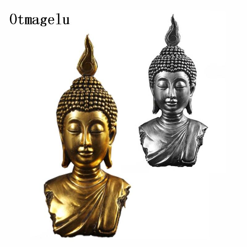 Bouddha tête Statue résine thaïlande bouddha Sculpture hindou Fengshui Figurine hôtel salon méditation Miniature décor à la maison