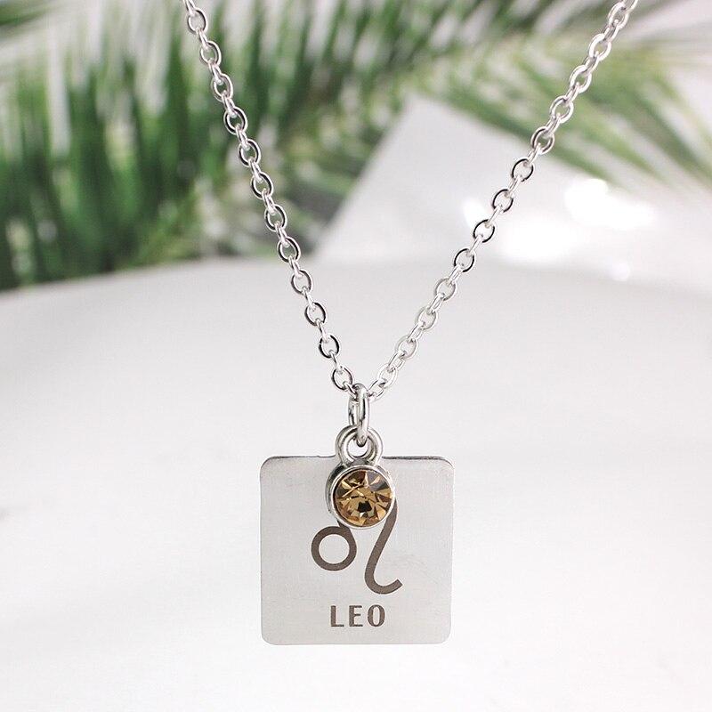 12 знаков зодиака Созвездия кулон ожерелье хрусталь камень ожерелье женщины друг подарок на день рождения ювелирные изделия из нержавеющей стали - Окраска металла: 10