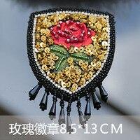 Wzrosła pomponem rhinestone zroszony cekiny patche haftowane sew na łacie Badge aplikacja łaty na ubrania parches para la ropa