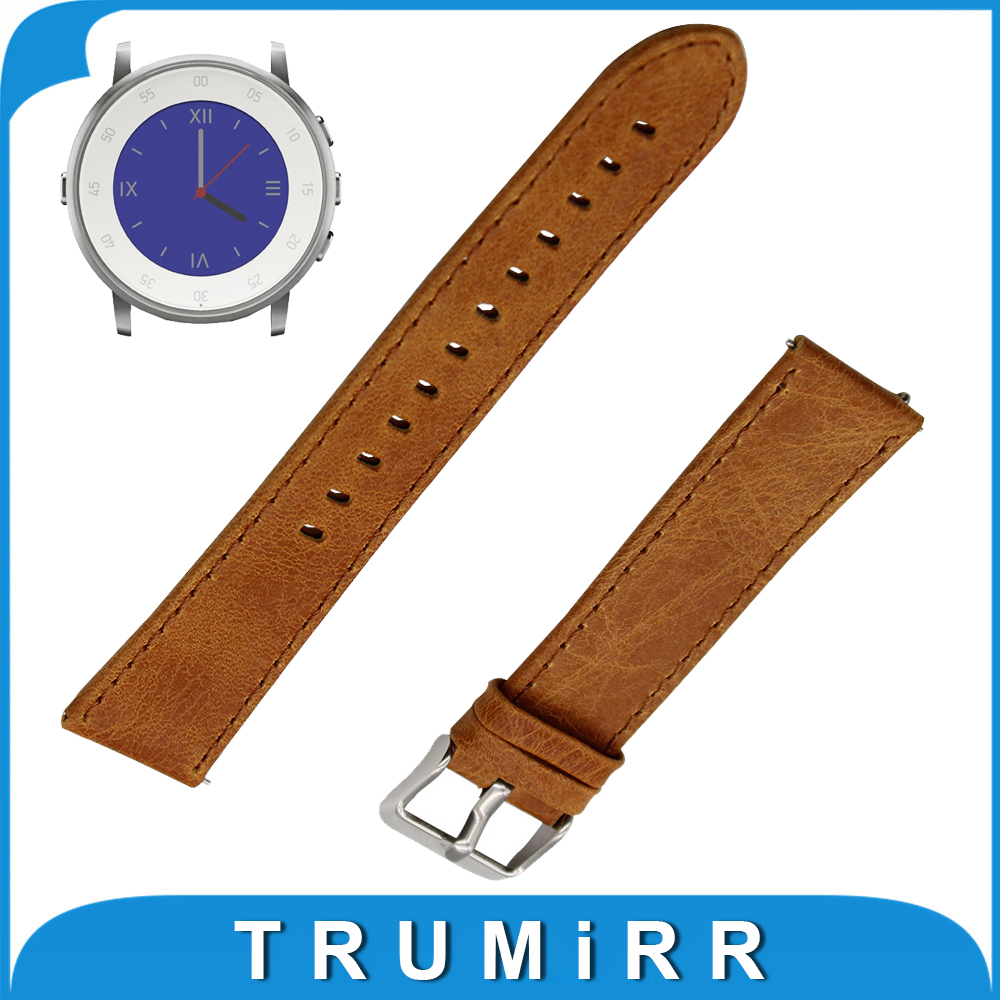 Genuine Leather Watch Band Quick Release Strap for Pebble Time Round 20mm / Bradley Timepiece Replacement Wrist Bracelet Brown genuine leather watch band 22mm for pebble time steel stainless pin buckle strap quick release wrist belt bracelet black brown