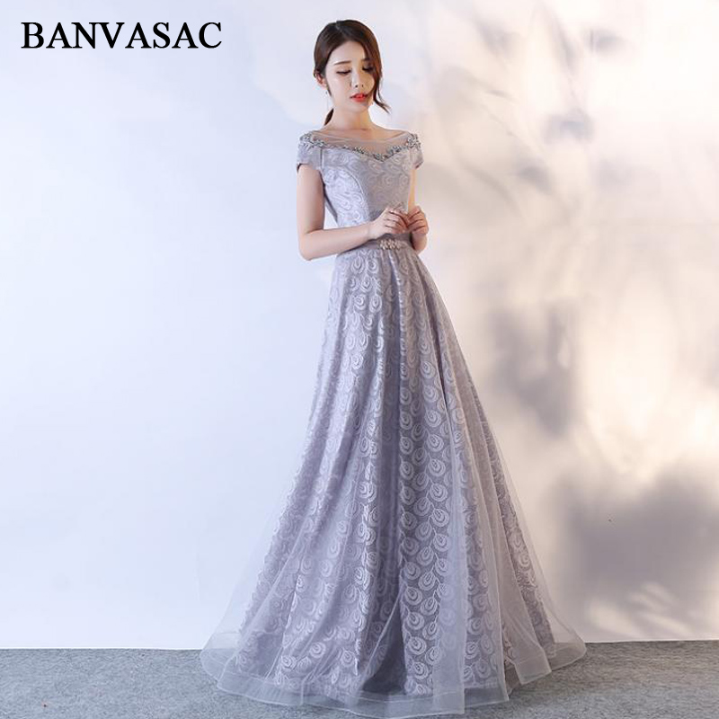 BANVASAC 2018 Beading Flowers O Neck A Line Crystal Sash Long Evening Dresses Party Lace Embroidery Backless Prom Gowns in Evening Dresses from Weddings Events