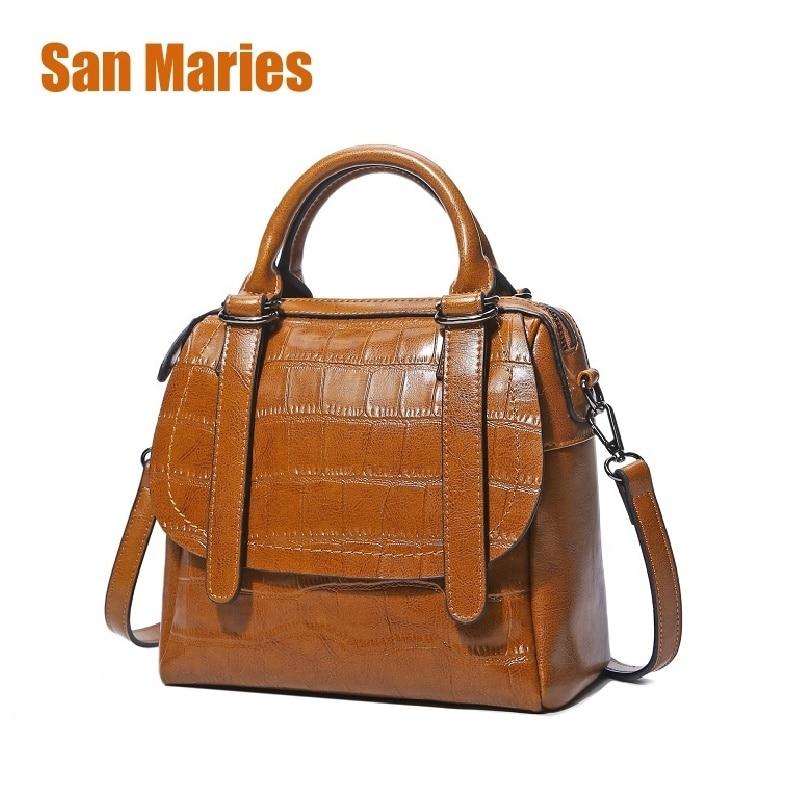 San Maries Brand Women Handbag Stone Pattern Oil Wax Leather Shoulder Bag Messenger Bag Wristlests Bag Feminina Crossbody Bags messenger bag