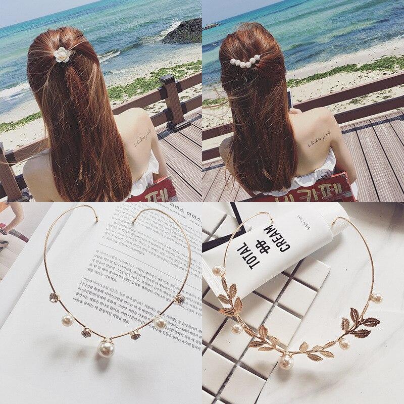 Ruoshui Woman Elegant Hairband Pearl Crystal Alloy Headband Back Holder Hair Accessories Sweet Hairpins Girls Clips Headwear