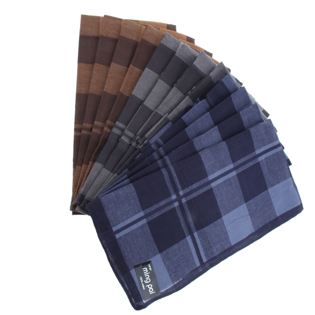 12 Pieces Vintage Men's Gentlemen's Plaid Cotton Handkerchief Pocket Square Hankies Naturally Moister Wicking Hypoallergenic