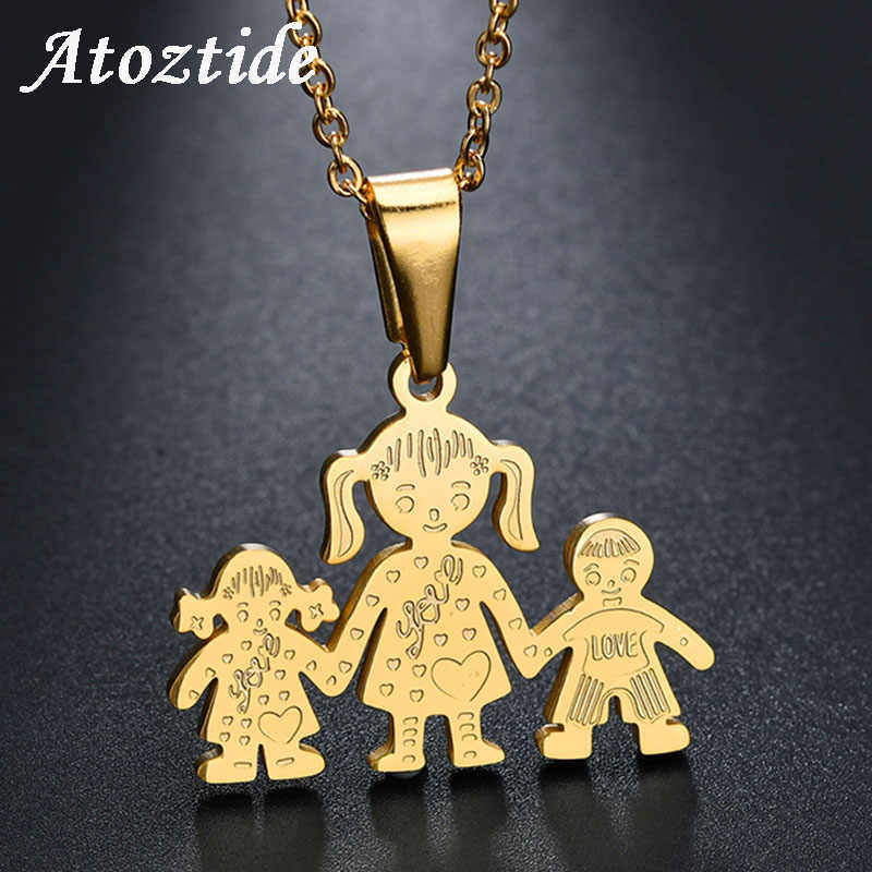 Atoztide Cute Cartoon Boy Girl Mom Family Necklace & Pendant Stainless Steel Son Daughter Gold Love Heart Necklace Gift For Kids