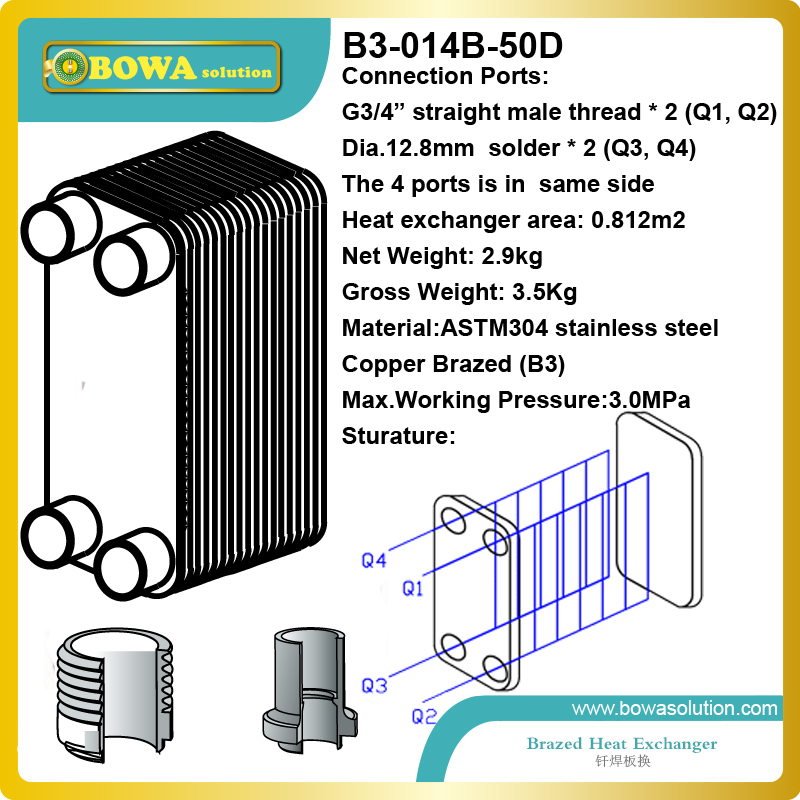 50 plates heat exchanger for heat pump water heater or floor heating replace VICARB V2~V110 plate heat exchanger 28 plates heat exchanger as 14kw evaporator of air source or water source water chiller replace spx plate heat exchanger