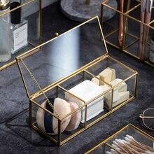 Organizador de maquillaje de cristal clásico europeo con borde cubierto dorado, organizador de maquillaje para baño, productos de maquillaje, organizador de cosméticos