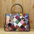Caerlif top-handle bags mulheres couro bolsas de ombro sacos crossbody saco de couro genuíno bolsas senhoras sacola colorida