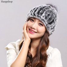 New fashion good quality caps winter fur hat for Russian women real rex rabbit with fox pom poms knitted beanies