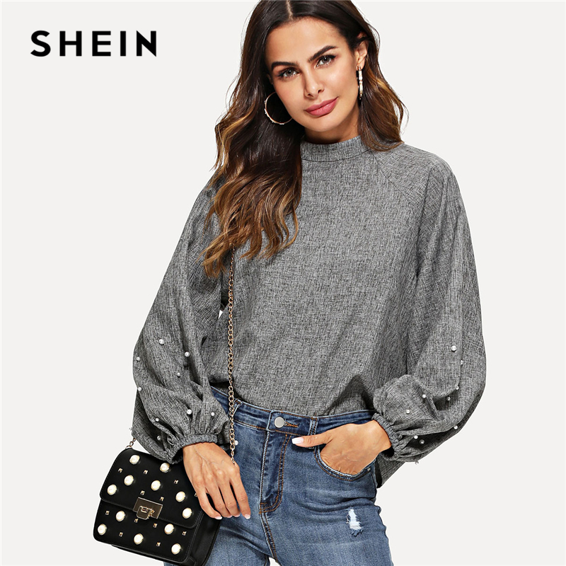 ba5b44a5ad3 SHEIN Grey Minimalist Workwear Mock Neck Pearl Beading Lantern Sleeve Stand  Collar Solid Blouse Autumn Women Casual Top