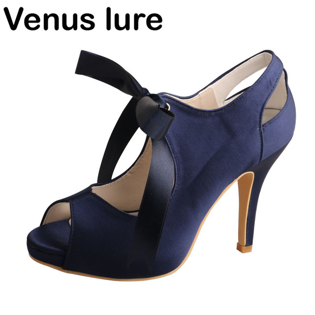 High Heel Prom Shoes Wedding Navy Blue Peep Toe Women Evening Shoes Platform b4a9f8f3db