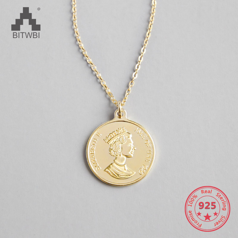 100% 925 Sterling Silver Elizabeth Avatar Round Coin Statement Pendants Necklace Women Charms Choker Fashion Boho Jewelry100% 925 Sterling Silver Elizabeth Avatar Round Coin Statement Pendants Necklace Women Charms Choker Fashion Boho Jewelry