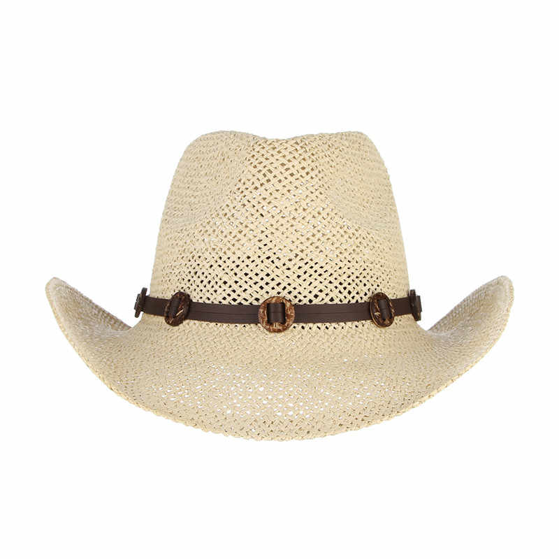 b53960a3c97 ... Vintage Summer Hats For Men Beach Cowboy Hat With Belts Wide Brim Straw  Sun Cap Male ...