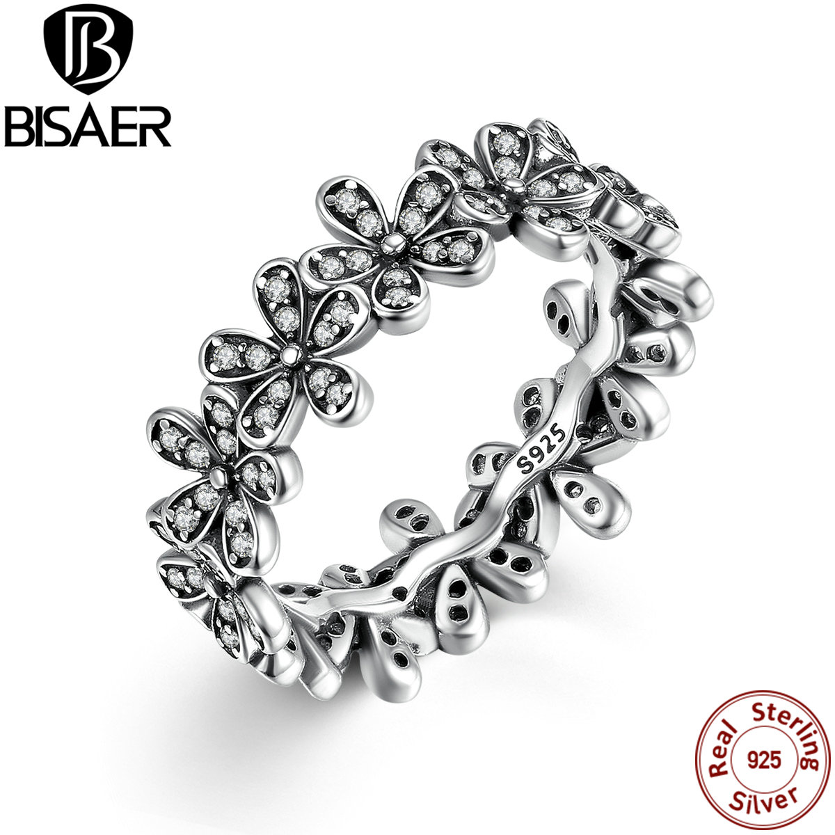 5a797a1b8 ... australia 925 sterling silver flowers finger rings dazzling daisy  meadow stackable ring for women compatible with