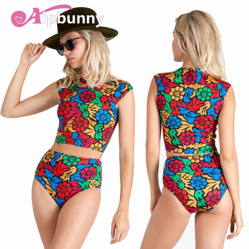 High Neck Printed Padded Floral Swimwear Set Tankinis Sexy Swimsuit Women Swiming Biquini 2018 Bikini Bathing Suit