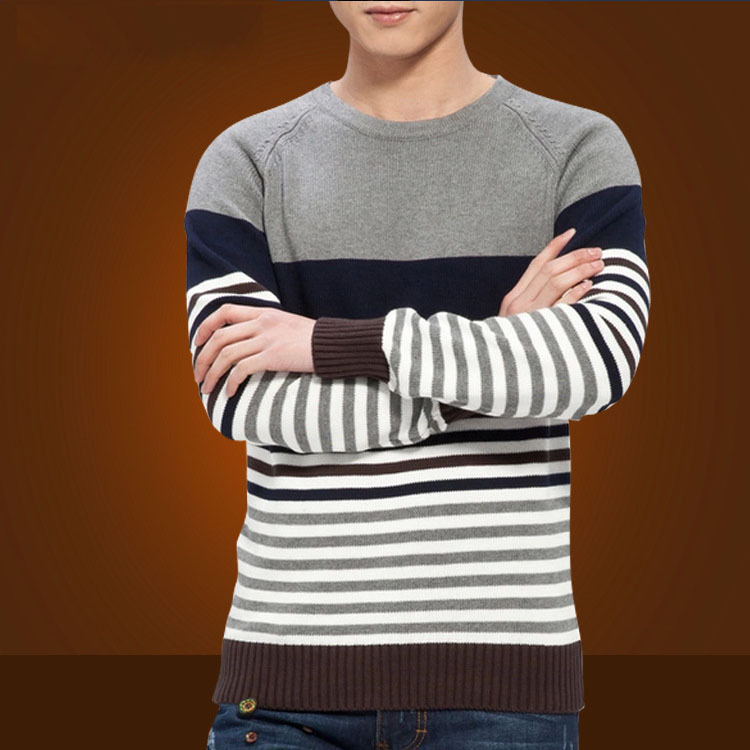 a52f0aeb86d92c Mens Striped Sweater Knitting Pattern 2015 New Autumn Hedging Thick Sweater  Men s Round Neck Preppy Style Casual Sweaters Men-in Pullovers from Men s  ...