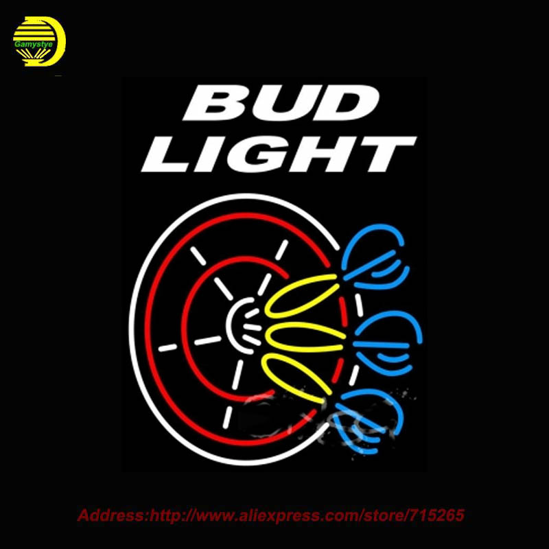 2017 Hot Neon Sign Bud 3 <font><b>Light</b></font> Dart Glass Tube One Neon Signs Handcrafted Free Design LOGO Recreation Room Iconic Sign 24x31