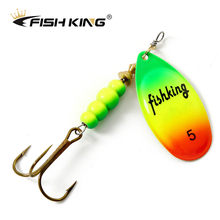 FISH KING Spinner Bait 1pc 3.2g 4.3g 6.1g 9.6g 13.6g Fishing Lure Bass Hard Baits Spoon With Treble Hook Tackle High Quality(China)