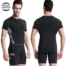YEL 10331014 New Compression Tights Running Set Quick Dry Suit Gym Sportswear Fitness Short Sleeve T Shirt Shorts Tracksuit Men