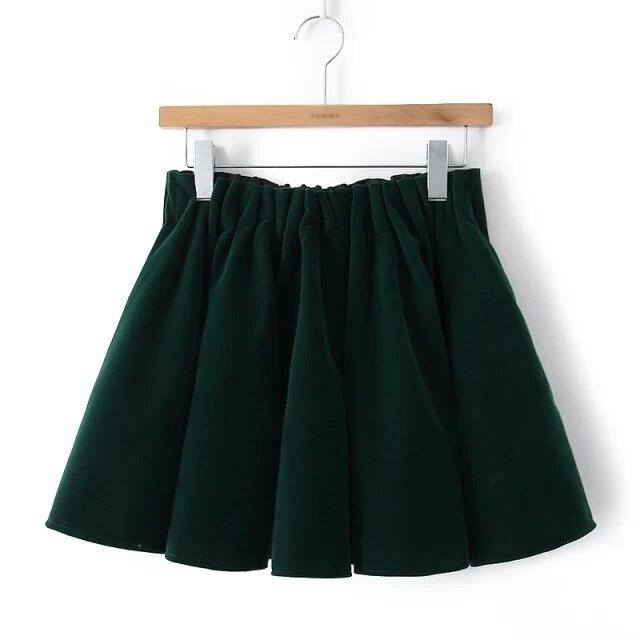 2014 High Quality Autumn Winter New Women Velvet Pleated Skirt Green,Wine Red,Navy Blue