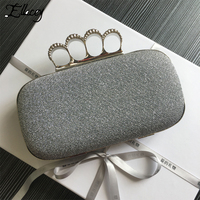 Ellacey 2017 New Fashion Design Diamond Finger Ring Shinying Evening Bags Classic Luxury Bling Day Clutch For Wedding And Party