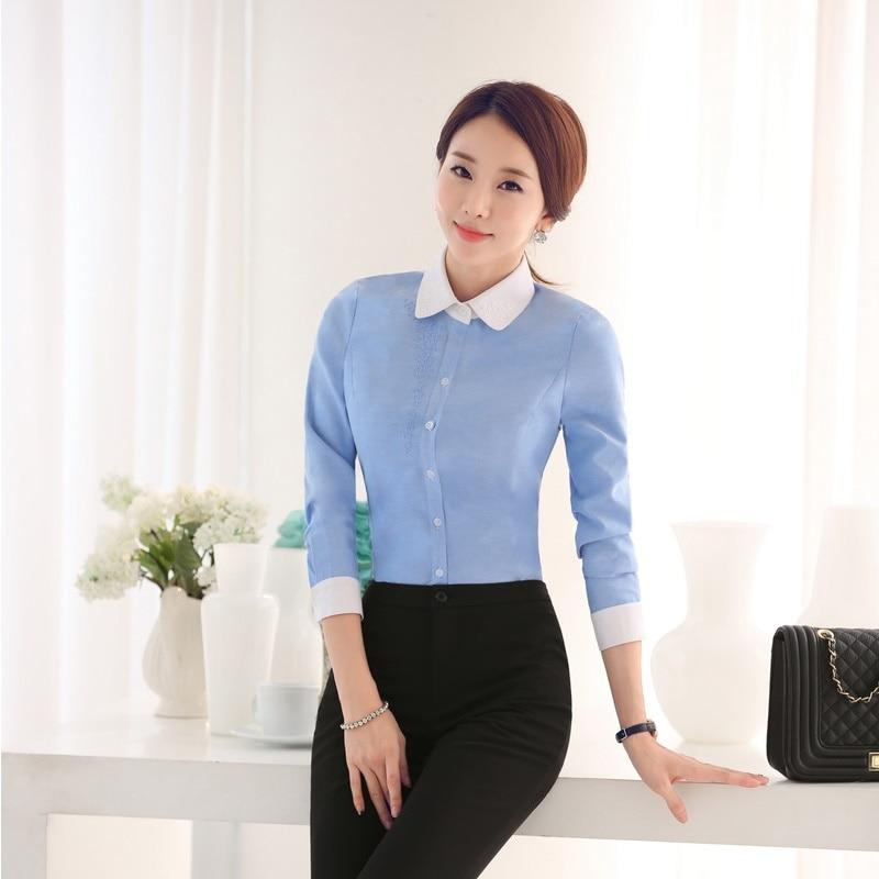 Formal para mujer camisas azules mujeres blusas y Top de