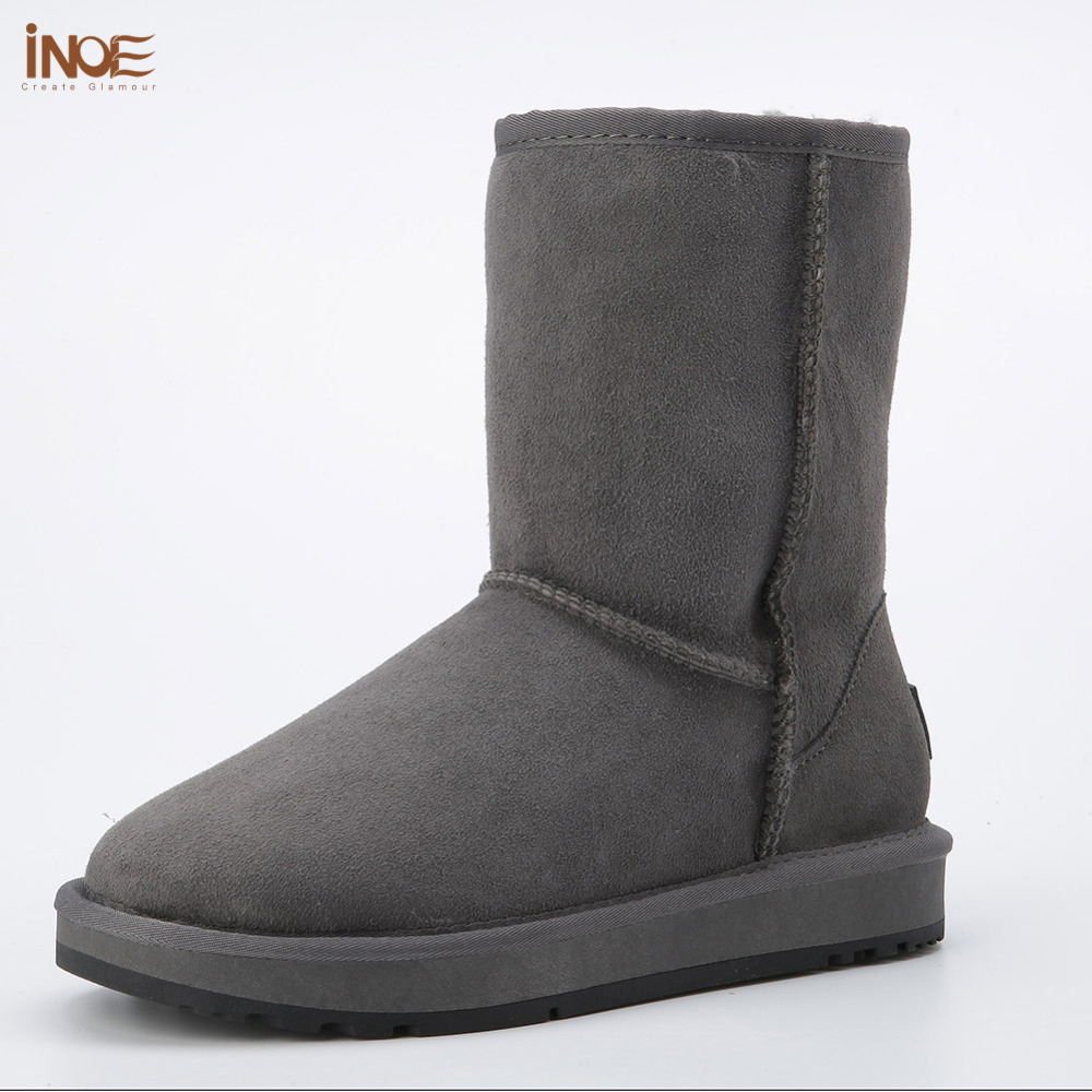 Real sheepskin leather suede man winter snow boots for men sheep fur lined winter shoes high quality brown black grey non-slip habuckn genuine leather suede winter snow boots for women real sheep fur wool lined winter shoes high quality brown black