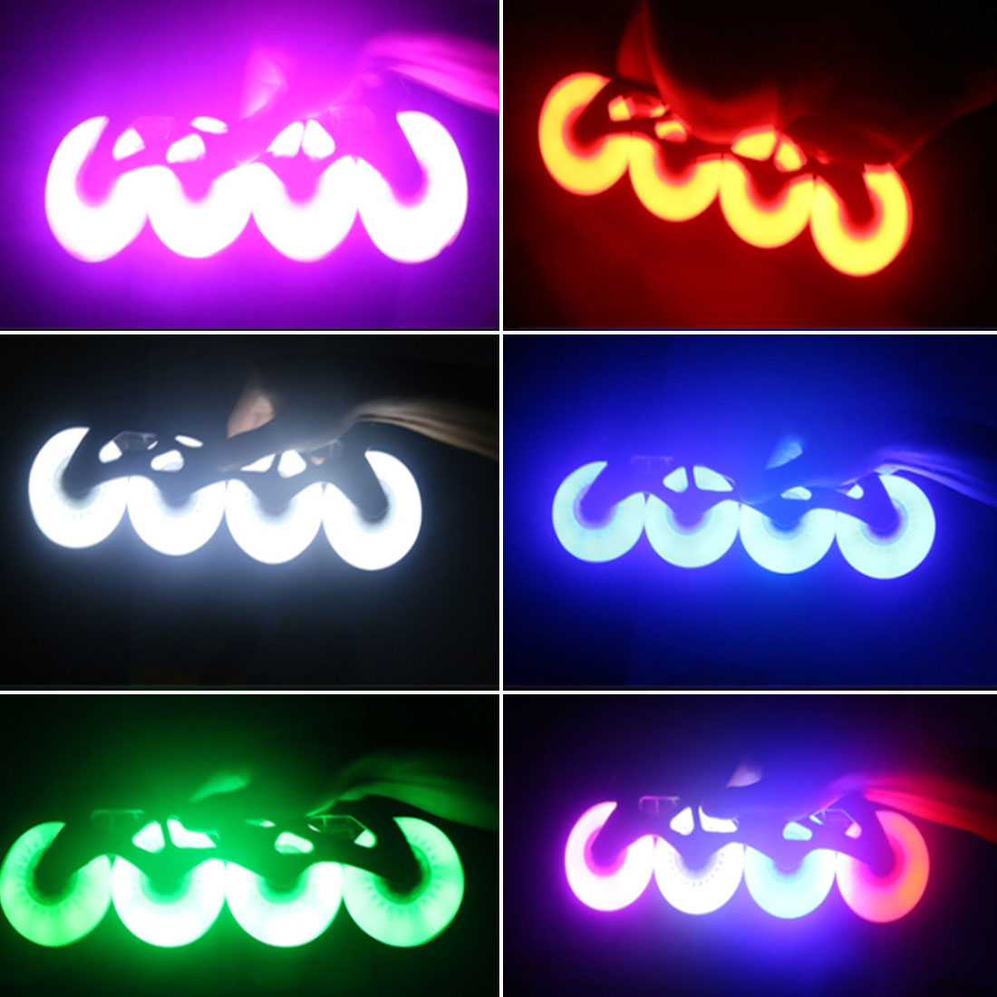 4pcs LED Flashing PU Wheel 76mm 70mm 64mm For Inline Skates 90A For Adults Kids Roller Wheels