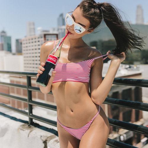 Women Sexy Striped Teen Girl Set Bikini Padded Swimwear Swimsuit Bathing Suit