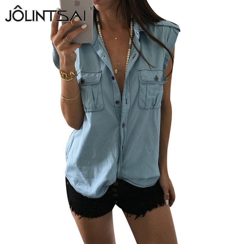 S-4XL Europe Style 2017 Summer New Arrival Women Shirts Sleeveless Ripped Denim Casual Shirts Female Pockets Plus Size Blouses