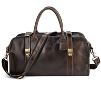 Retro Men Genuine Leather Chains Travel Bag Cowhide Luggage Handbag High Capacity Shoulder Crossbody Overnight Duffle Bag D413