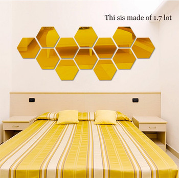12Pcs 3D Mirror Hexagon Vinyl Removable Wall Sticker Decal Home Decor Art DIY Home Decor Living Room Mirrored Sticker Gold 7