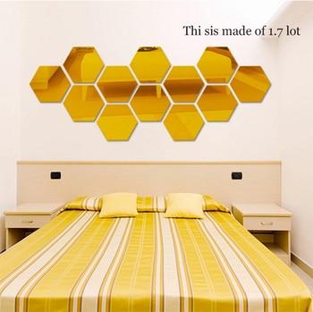 12Pcs 3D Mirror Hexagon Vinyl Removable Wall Sticker Decal Home Decor Art DIY Home Decor Living Room Mirrored Sticker Gold 7