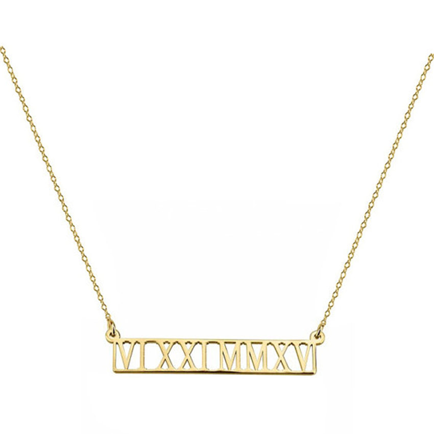 Personalized Jewelry Gold Silver Color Custom Roman Numeral Bar Pendant Necklaces Stainless Steel Wedding Date Choker Necklace