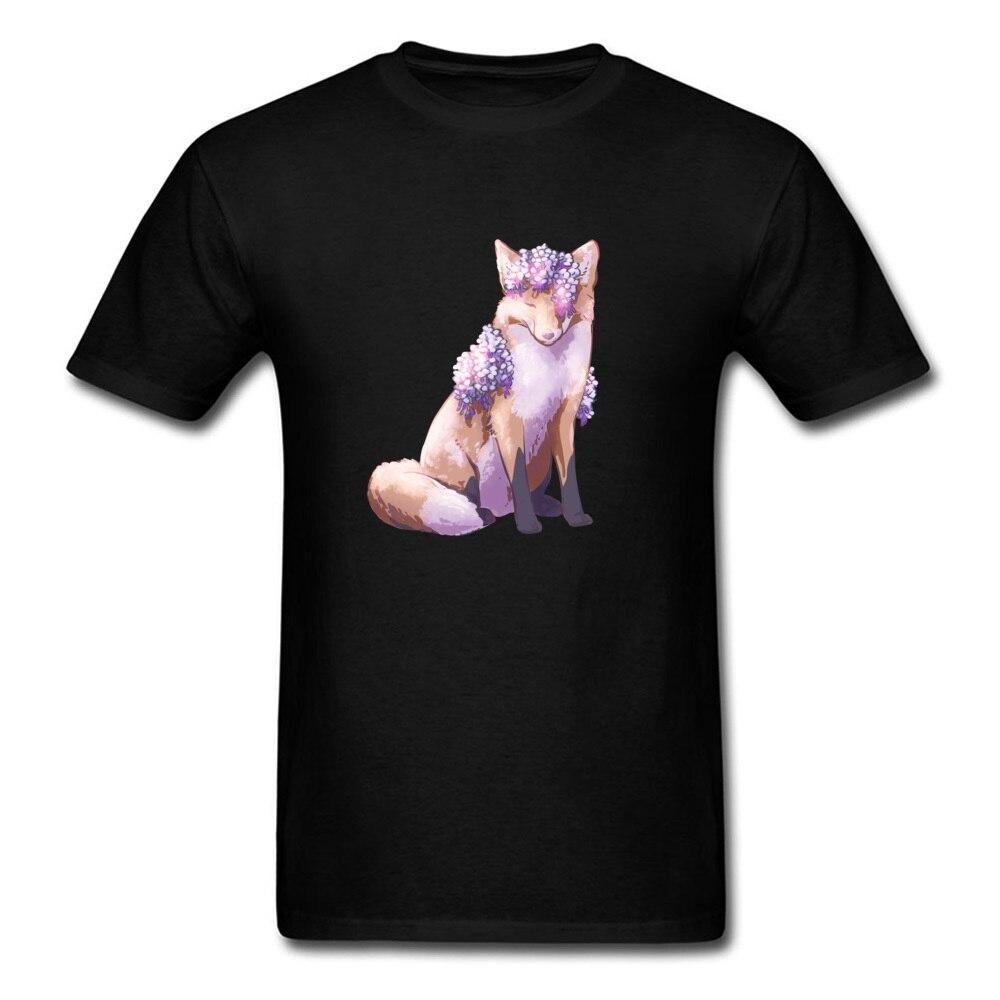 Latest Beautiful Watercolor Fox T-Shirt Men Black T Shirt Short Sleeve O-Neck Custom Design Cartoon Sweatshirt