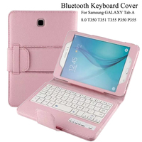 For Samsung GALAXY Tab A 8.0 T350 T351 T355 P350 P355 Removable Bluetooth Keyboard Portfolio Folio PU Leather Case Cover +2 Gift