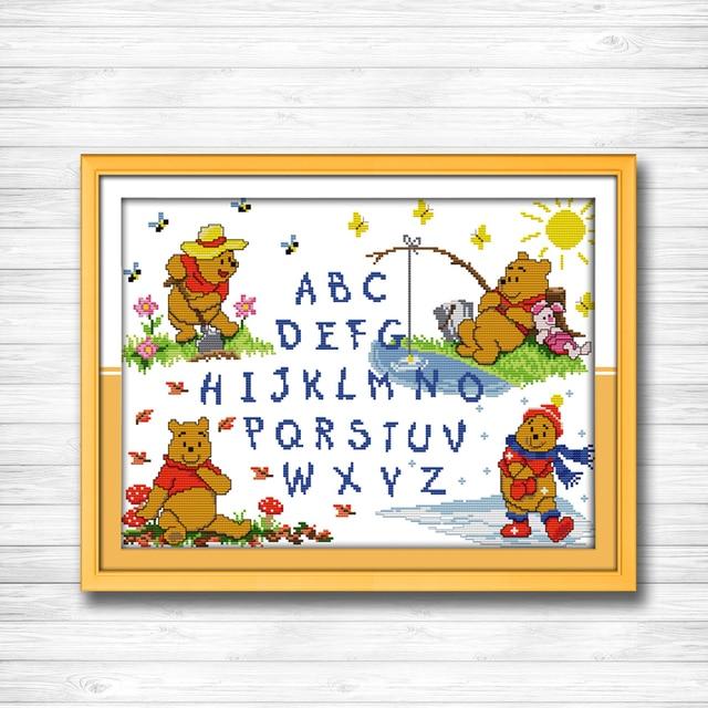 Winnie the Pooh letras historieta DIY pinturas DMC 14ct 11ct Cruz ...