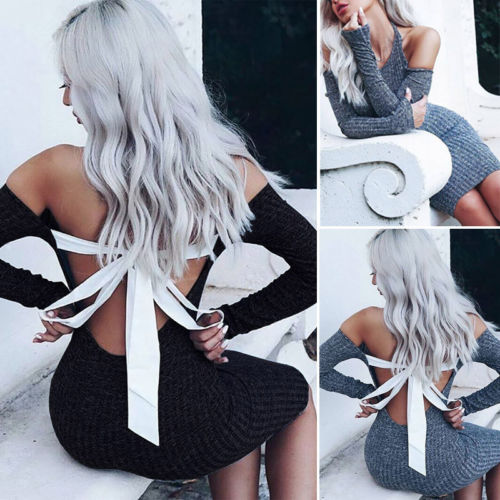 Sexy Women Off Shoulder Backless Slim Dress Bandage Knitted Long Sleeve Party Mini Dresses Autumn Gray Black