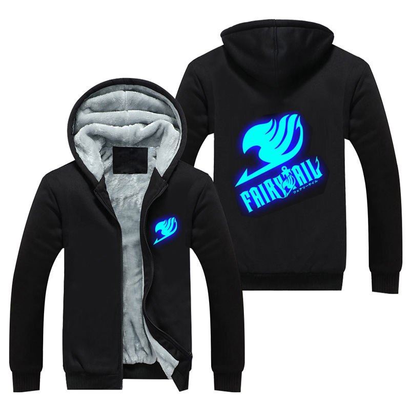 Unisex for men and women anime Fairy Tail Logo cosplay jacket luminous hoodies insulated coat with hood Top of clothing