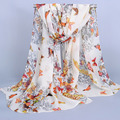 2015 Spring and autumn velvet chiffon scarf sunsreen cape butterfly beach towel polka big flowers silk scarf XF03