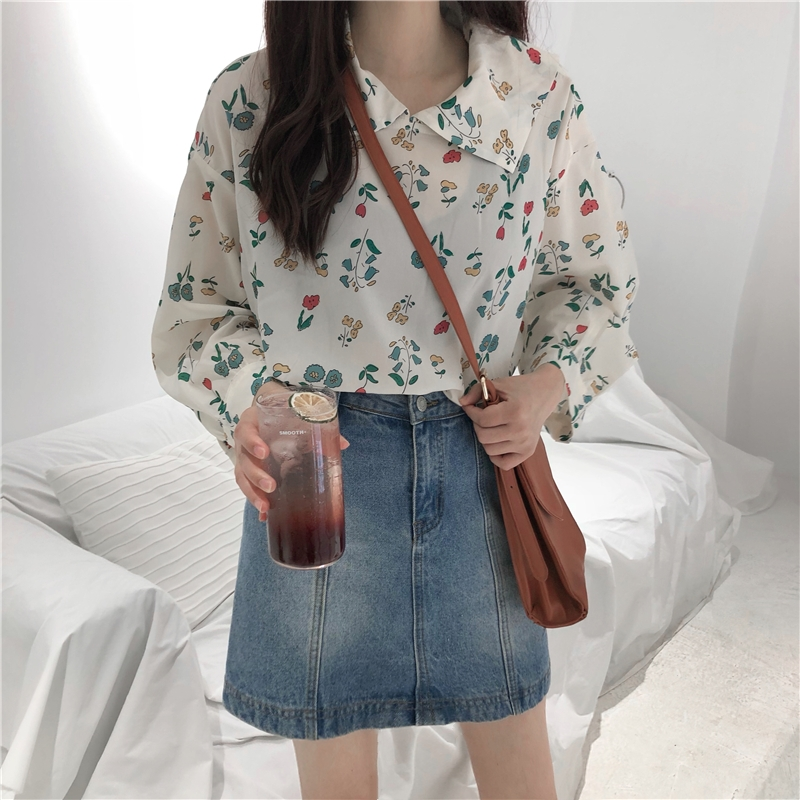 Floral print thin korean tunic women blouse Peter pan Collar long sleeve 2019 new summer chiffon loose transparent school shirt in Blouses amp Shirts from Women 39 s Clothing