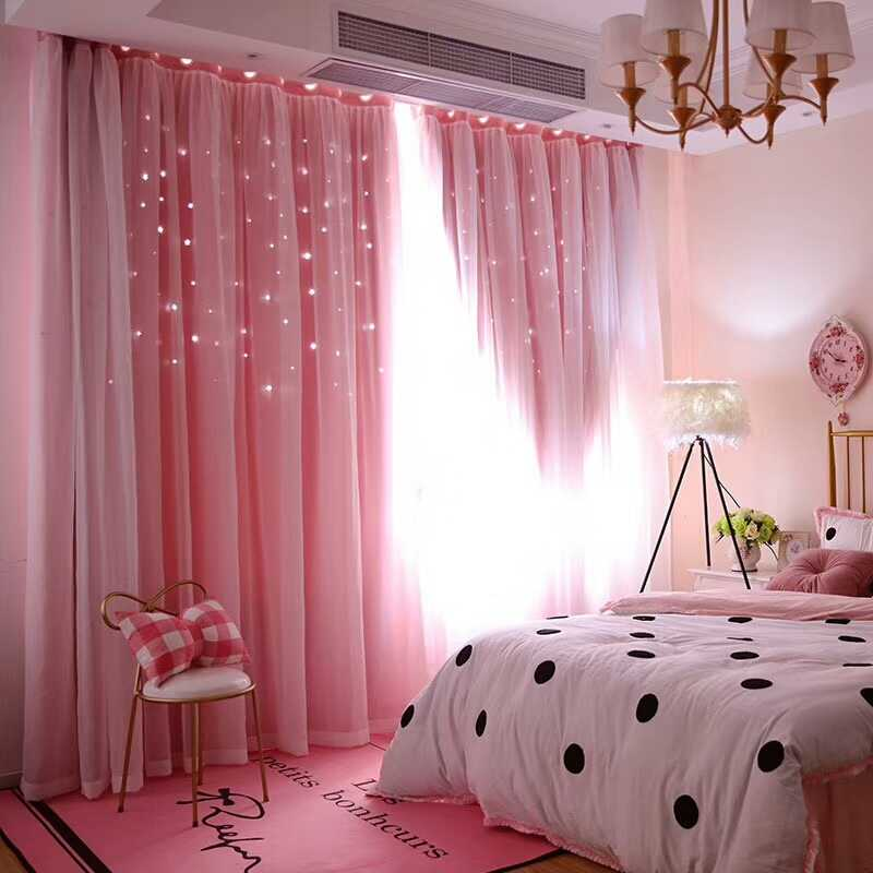 Romantic Stars Window Curtains for Living Room Bedroom Kids Room Wedding  Pink Voile Tulle Curtain Double Layer Blackout Curtains