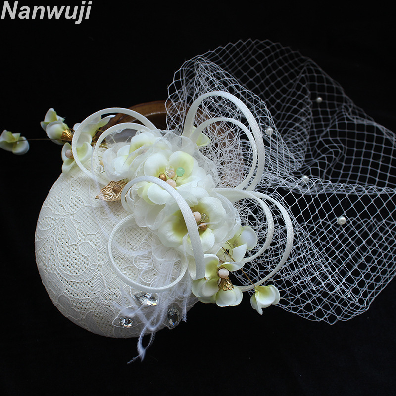 2018 Bridal Net Feather Hats White Hat Veil Bridal Flower Feathers Fascinator Bride Face Veils Wedding bride Hats