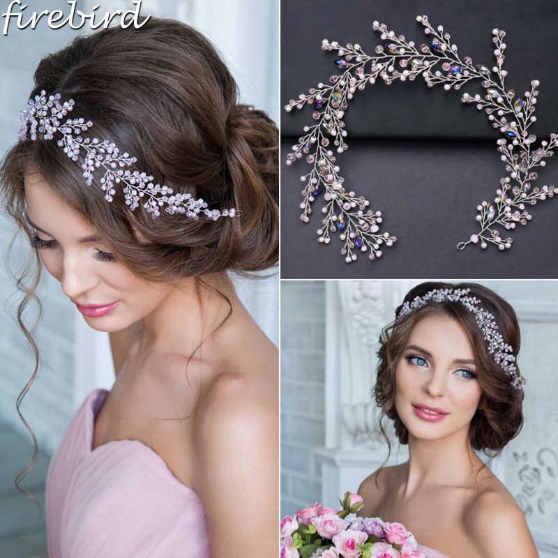 Luxury Wedding Hair Accessories Pink Crystal Bridal Headband Hair Vine Pearl  Tiara Head Chain Bride Headpiece 7d5afd04a14f