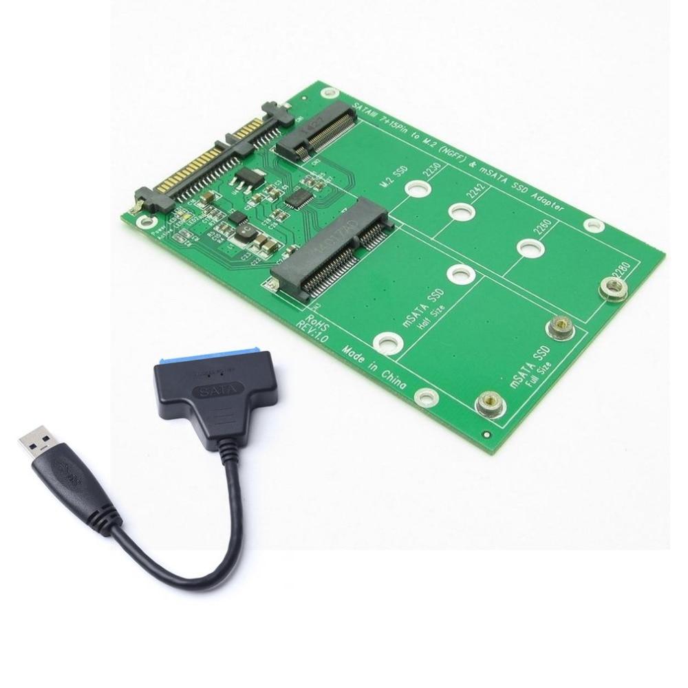 Disque dur USB 3.0 7 + 15 broches vers mSATA & NGFF M.2 SSD 2 en 1 Combo Mini pci-e adaptateur convertisseur carte avec câble