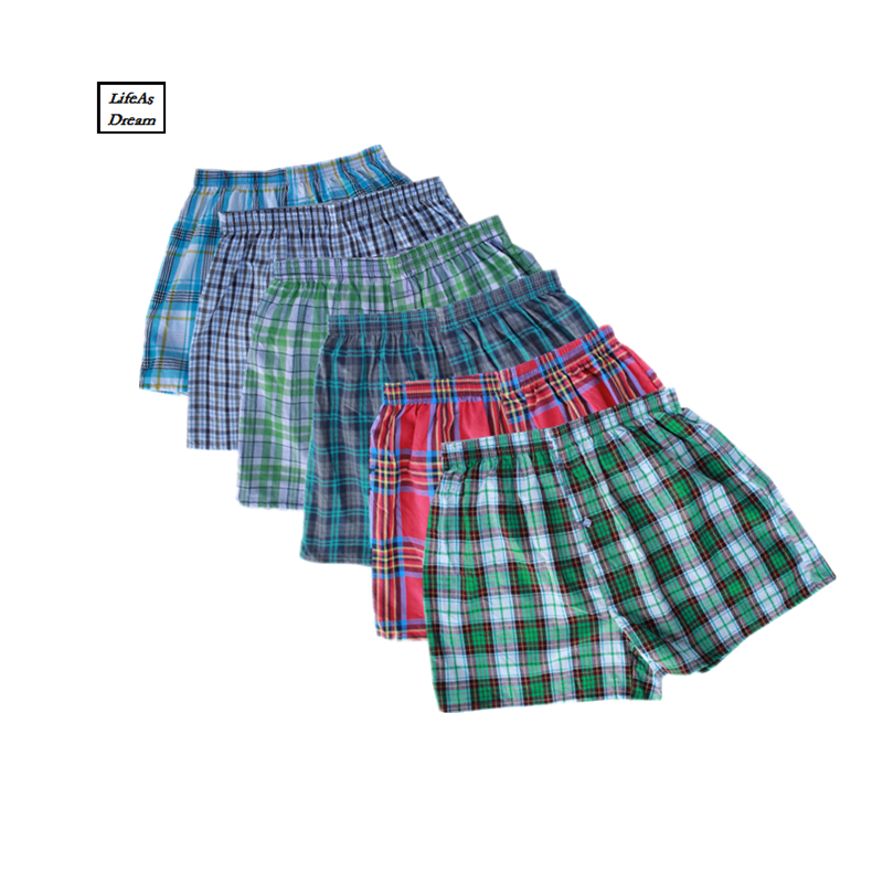 M L Classic Plaid Men Boxer Shorts Mens Underwear Trunks Cotton Cuecas