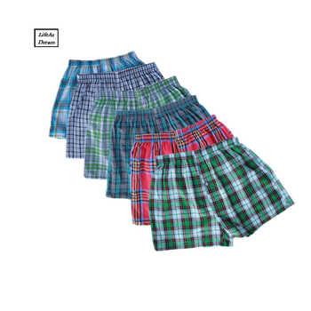 M-4XL Classic Plaid Men Boxer Shorts Mens Underwear Trunks Cotton Cuecas Underwear boxers for male Arrow Panties 4PCS/lot