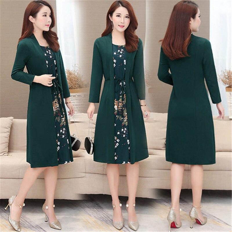Women casual knee-length dress plus size arrival short sleeve printing autumn dress for offical lady Women loose elegant dress 100