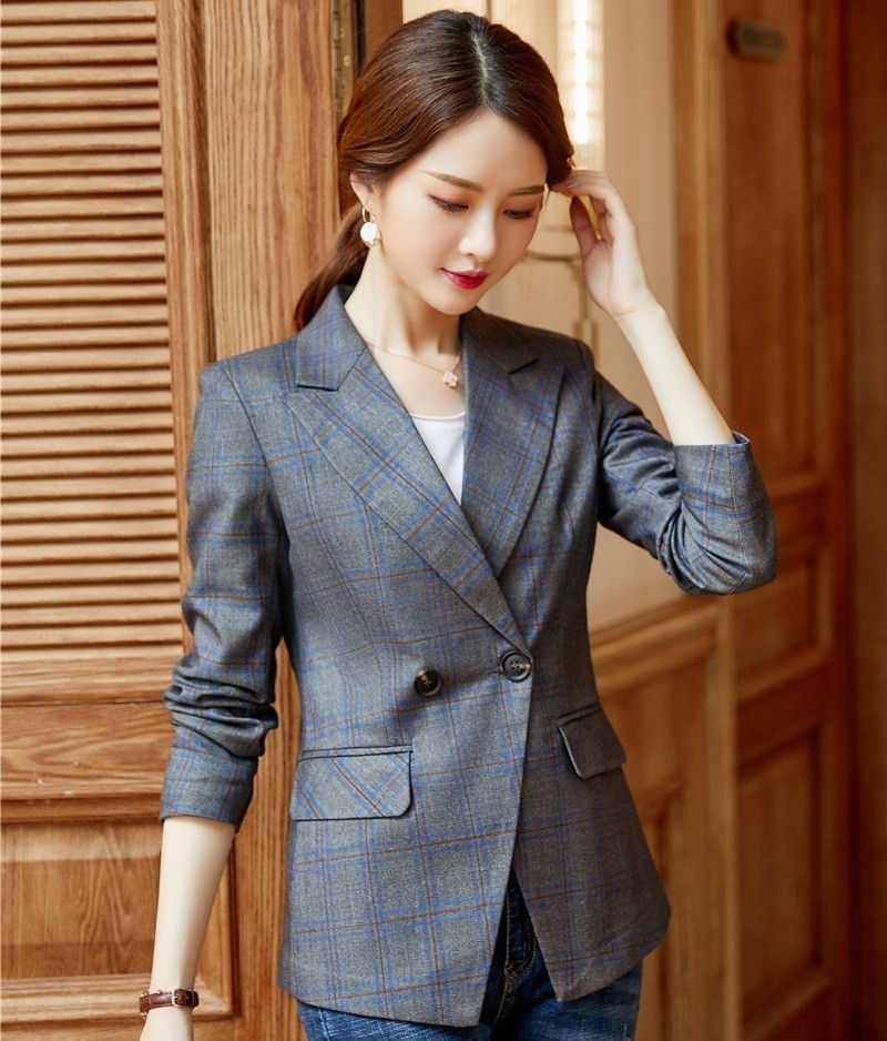 High Quality Fabric Fashion Plaid Formal Blazers And Jackets Coat For Women Business Work Wear OL Styles Blaser Tops Clothes